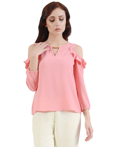 Blush Pink Cold Sholder Top