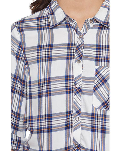 Cerulean Blue & White Check Shirt