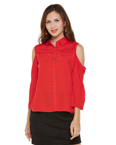 Venetian Red Cold Shoulder Top