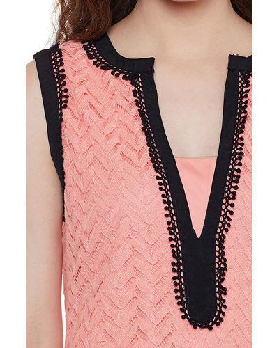 Blush Pink Sleeveless Lace Top