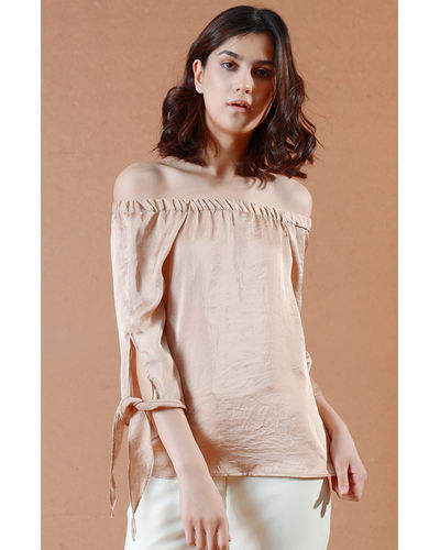 Beige Off-the-Shoulder Top