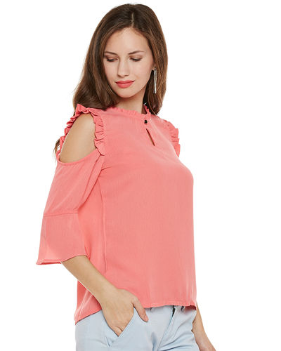 Coral Cold Shoulder Top