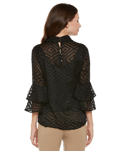 Noir Sheer Bell Sleeves Top