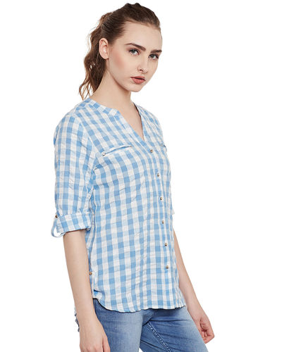 Azure Blue & White Check Top