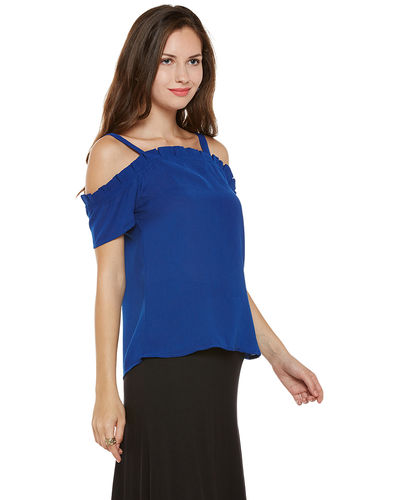 Cobalt Cold Shoulder Top