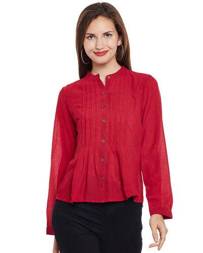 Crimson Pleated Buttoned Shirt