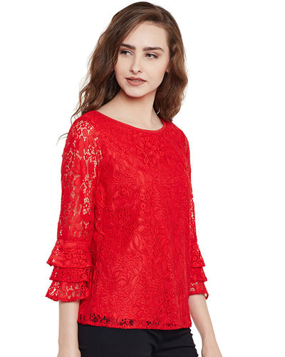 Lava Red Lace Top
