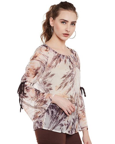 Beige Canvas Abstract Top