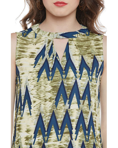 Blue-Green Abstract Top