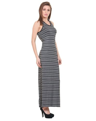 Grey Striped Knit Maxi Dress