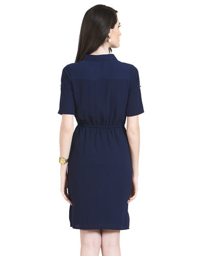 Cobalt Buttoned Dress