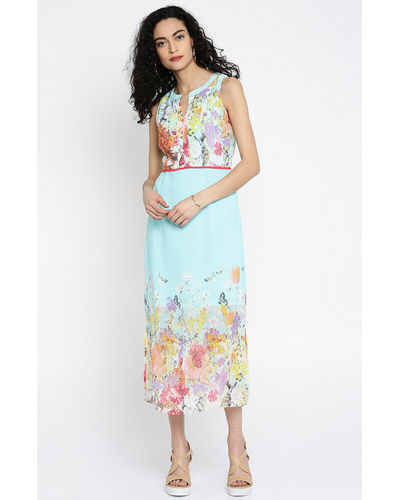 Sky High Floral Blue Maxi Dress