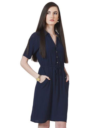 Cobalt Buttoned Dress
