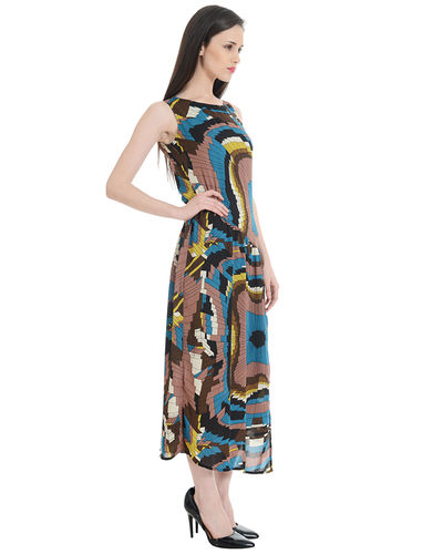 Brown Illusion Maxi Dress