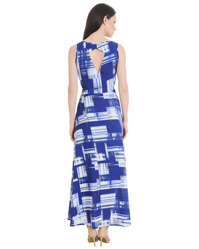 Blizzard Blue Block Pattered Maxi Dress