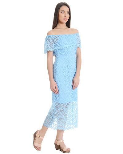 Aqua Off-the-Shoulder Dress