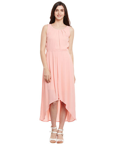 Soft Pink Hi-Lo Pleated Dress