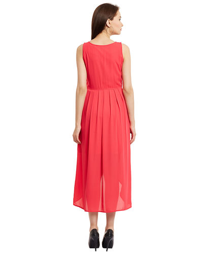 Rose Pink Hi-Lo Pleated Dress