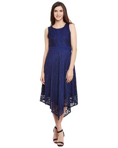 Midnight Blue Asymmetric Dress