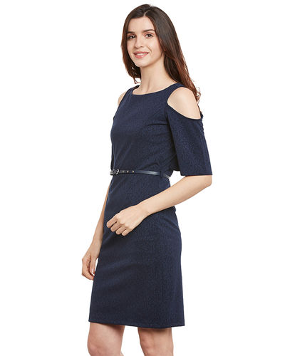 Indigo Cold shoulder Dress