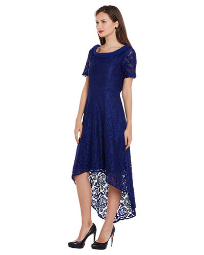 Midnight Blue Boat Hi-Lo Dress