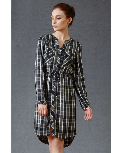 Noir Check Buttoned Dress
