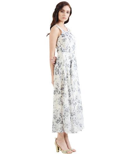 Smoke Gray Floral Maxi Dress