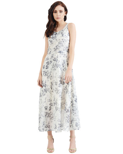 Smoke Gray Floral Maxi Dress