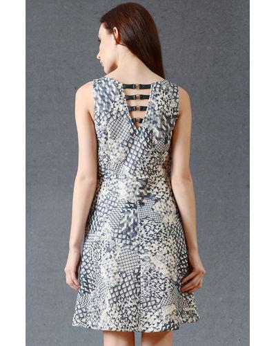 Smoke Grey Cross-Back Skater Dress
