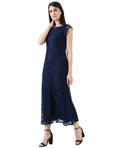 Midnight Blue Lurex Maxi Dress
