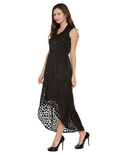 Noir Polka Patterned Hi-Lo Dress