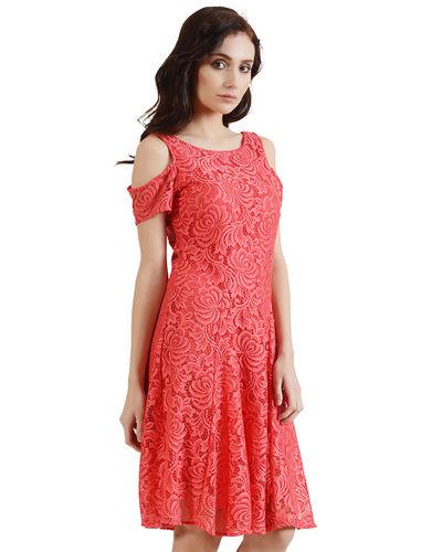 Coral Cold Shoulder Dress