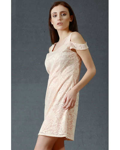 Powder Pink Cold Shoulder Dress