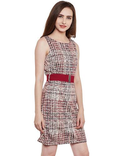 Wine Colour Patterned Short Dress