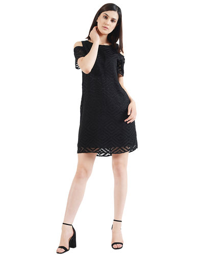 Noir Cold Shoulder Short Dress