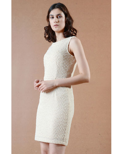Ivory Textured Short Dress