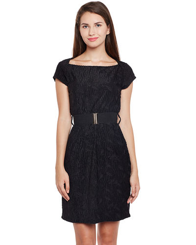 Noir Self Patterned Short Dress