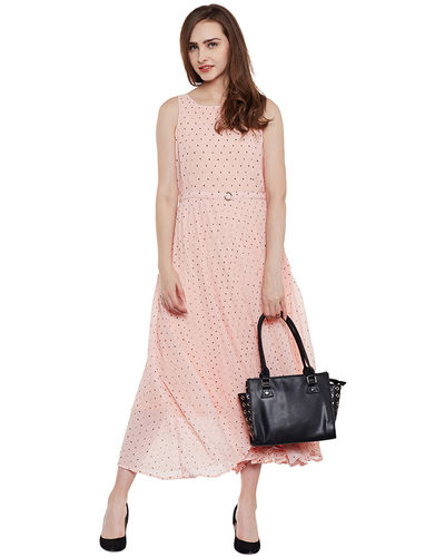 Blush Pink Polka Dot Maxi Dress