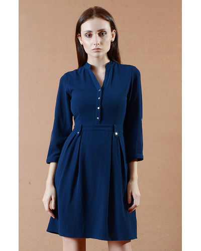 Indigo Front Buttoned Short Dress