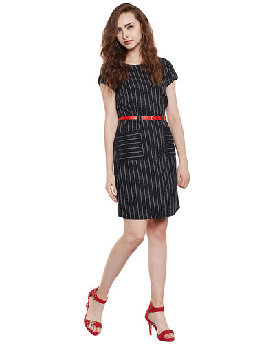 Charcoal Grey Striped Short Dress
