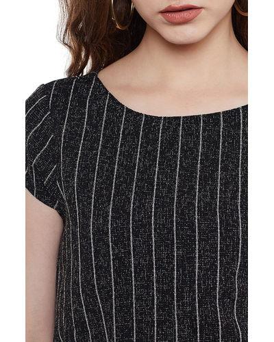 Charcoal Grey Striped Short Dress