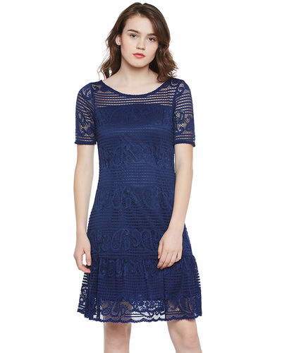 Berry Blue Lace Short Dress