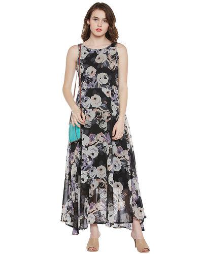 Noir Floral Maxi Dress
