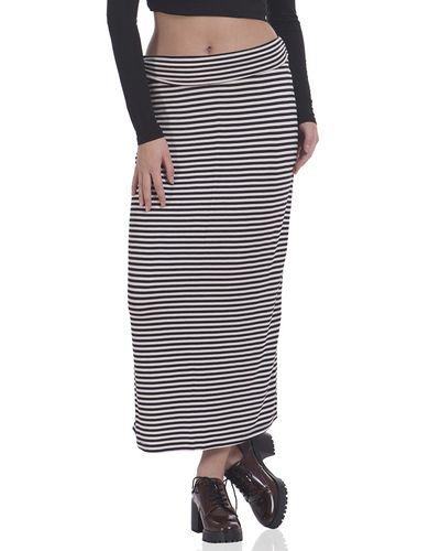 Black Knitted Striped Skirt