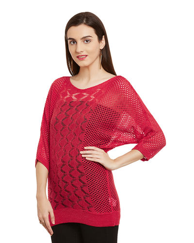 Red Batwing Patterned Sweater