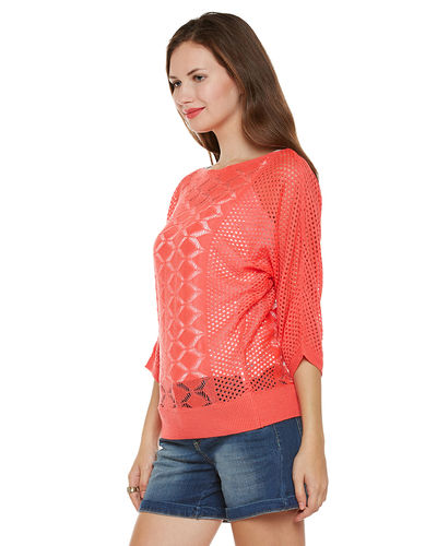 Coral Patterned Sweater