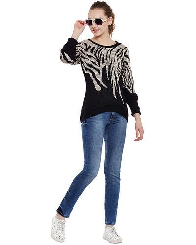 Noir Animal Patterned Sweater