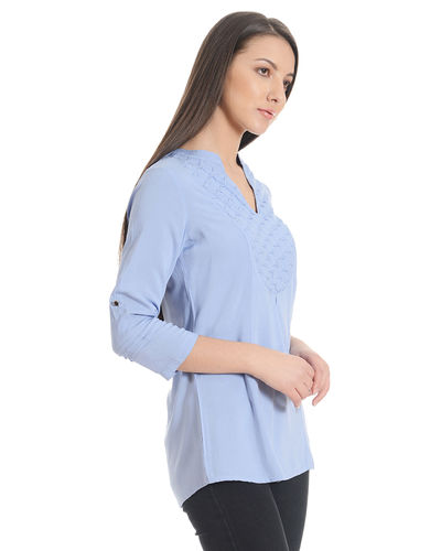 Powder Blue Front Panel Tunic