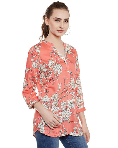 Floral Coral Top