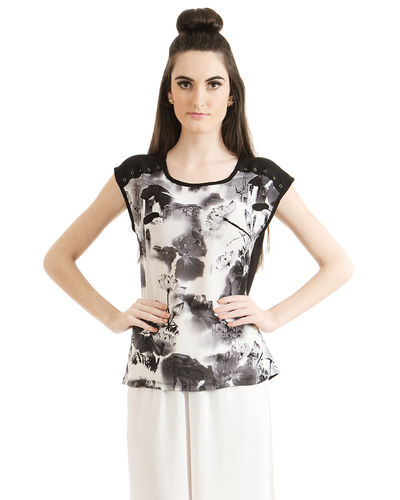 Monochrome Abstract Print Top
